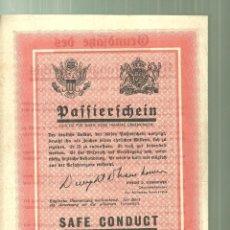 Militaria: 4184.-IIª GUERRA MUNDIAL-EJEMPLO DE SALVOCONDUCTO PARA RENDICION SOLDADOS ALEMANES. Lote 227472120
