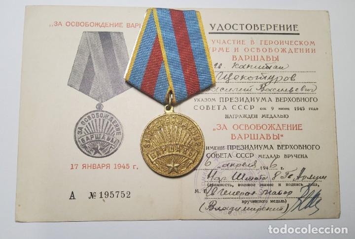 Militaria: MEDALLA RUSA POR LA LIBERACION DE VARSOVIA.DOCUMENTO DE CONCESION ORIGINAL.2ª GUERRA MUNDIAL - Foto 3 - 233153350