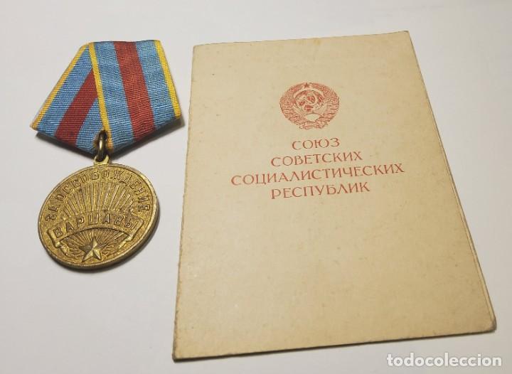 MEDALLA RUSA POR LA LIBERACION DE VARSOVIA.DOCUMENTO DE CONCESION ORIGINAL.2ª GUERRA MUNDIAL (Militar - II Guerra Mundial)