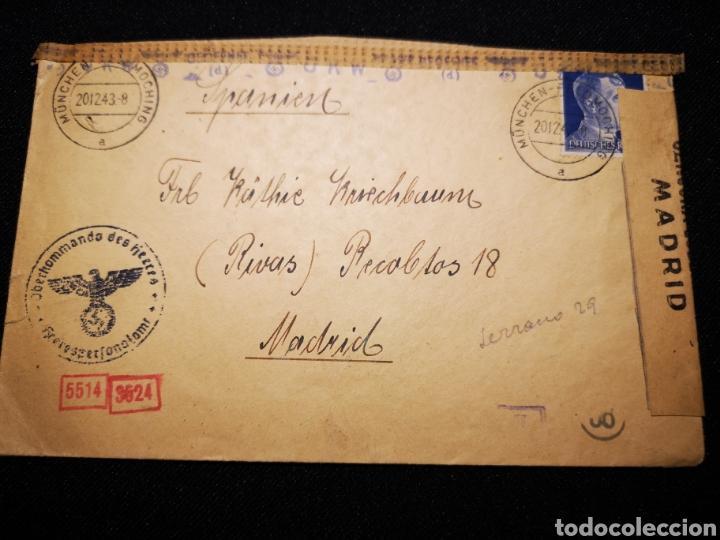 CARTA REICH CENSURA MILITAR ESPAÑA (Militar - II Guerra Mundial)