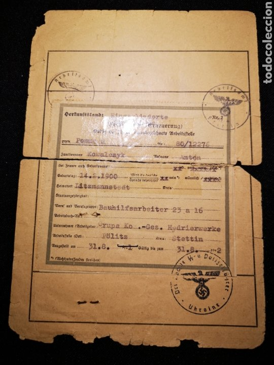 Militaria: Documento prisionero polaco, gestapo ss - Foto 3 - 234903740