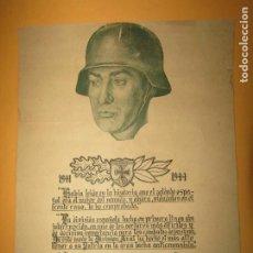 Militaria: ANTIGUO CARTEL RECONOCIMIENTO DE ADOLF HITLER A LA DIVISIÓN AZUL AÑO 1941 - 1944. Lote 254579335