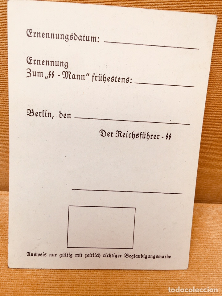 Militaria: CARNET ORIGINAL DE LAS SS,ALEMANIA NAZI DE HITLER,NSDAP,RARÍSIMO,COLECCIONISMO - Foto 2 - 264695949