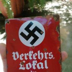 Militaria: CARTEL DE ESMALTE NSDAP. Lote 276305983