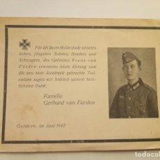 Militaria: TARJETA ESQUELA MORTUORIA SOLDADO ALEMÁN SEGUNDA GUERRA MUNDIAL 1942. Lote 290644733