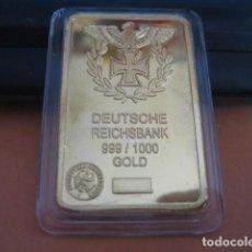 Militaria: LINGOTE ORO LAMINADO. DEUTSCHE REICHSBANK. ALEMANIA II GUERRA MUNDIAL. Lote 293200003