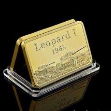 Militaria: LINGOTE ORO LAMINADO. LEOPARD I 1965. DEUTSCHE PANZER DIVISION. ALEMANIA II GUERRA MUNDIAL. Lote 293201678