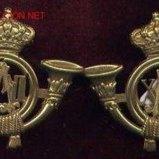 Militaria: INSIGNIA DE CUELLO. CORNETA DE CAZADORES. PAREJA. TAMAÑO PEQUEÑO. AXII. EPOCA ALFONSO XIII. Lote 13306408