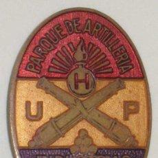 Militaria: ANTIGUO DISTINTIVO DE PLENA GUERRA CIVIL - REPUBLICA ESPAÑOLA, PARQUE DE ARTILLERIA - UHP - INDUSTRI. Lote 27462612