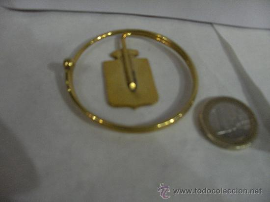 Militaria: Billetero Porta billetes anilla metálica dorada escudo de España esmaltado 5,5 cm. diámetro - Foto 7 - 25545777
