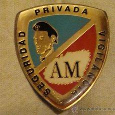Militaria: GRAN BROCHE INSIGNIA DE SEGURIDAD PRIVADA VIGILANCIA AM. VIGILANTES JURADO. GRAN PLACA. . Lote 111869756
