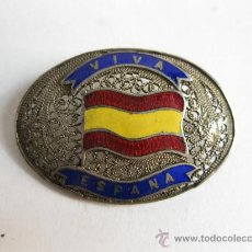 Militaria - INSIGNIA ANTIGUA DE PLATA DE FILIGRANA Y ESMALTE - VIVA ESPAÑA - - 27139454