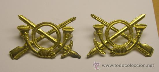 PAR DE INSIGNIAS DE INFANTERIA DE LA GUERRA CIVIL, PARA CUELLO O GORRA. ORIGINALES. (Militaria - Spanische militärische Abzeichen und Pins)
