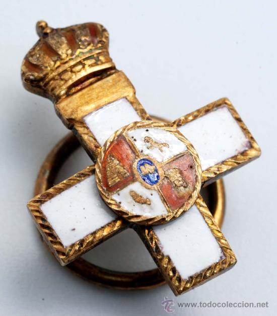 PIN CRUZ MERITO MILITAR ESMALTE DISTINTIVO BLANCO ÉPOCA JUAN CARLOS I (Militar - Insignias Militares Españolas y Pins)
