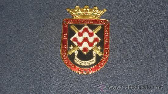 Militaria: Antigua Placa de brazo original de la division de infanteria inmortal gerona num 41 - Foto 2 - 32865231