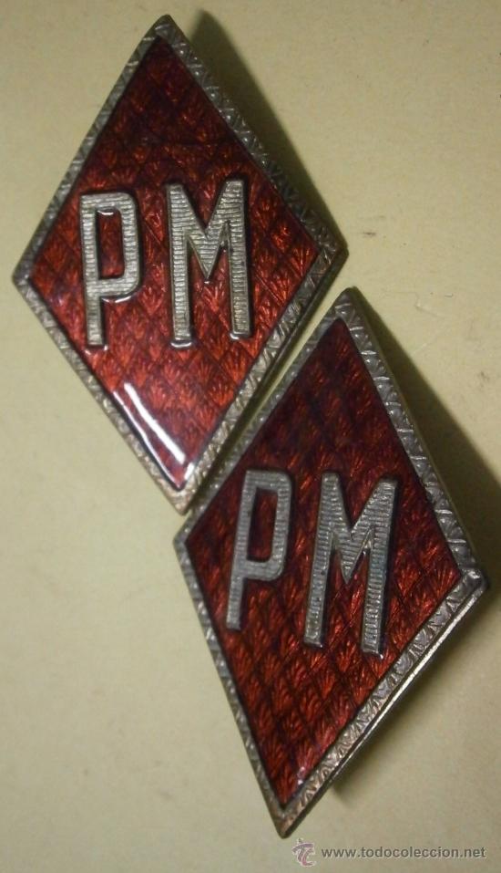 PAREJA DE ROMBOS ESMALTADOS PM (Militar - Insignias Militares Españolas y Pins)