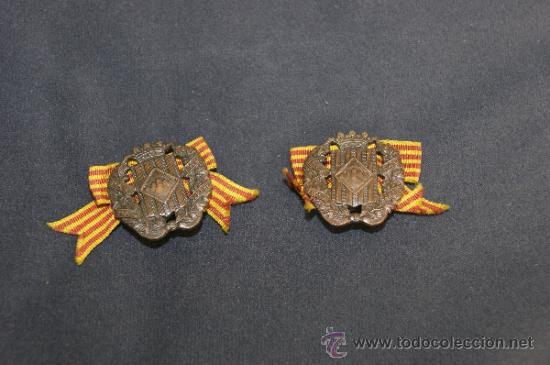 ANTIGUA PAREJA DE INSIGNIA DE SOMATEN ARMADO DE CATALUÑA. SOMATENES. REPUBLICA Y GUERRA CIVIL (Militar - Insignias Militares Españolas y Pins)