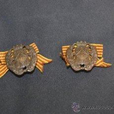 Militaria: ANTIGUA PAREJA DE INSIGNIA DE SOMATEN ARMADO DE CATALUÑA. SOMATENES. REPUBLICA Y GUERRA CIVIL. Lote 34510645
