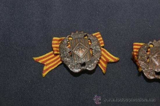 Militaria: Antigua pareja de insignia de somaten armado de Cataluña. Somatenes. Republica y guerra civil - Foto 2 - 34510645