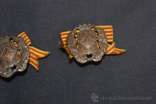 Militaria: Antigua pareja de insignia de somaten armado de Cataluña. Somatenes. Republica y guerra civil - Foto 3 - 34510645