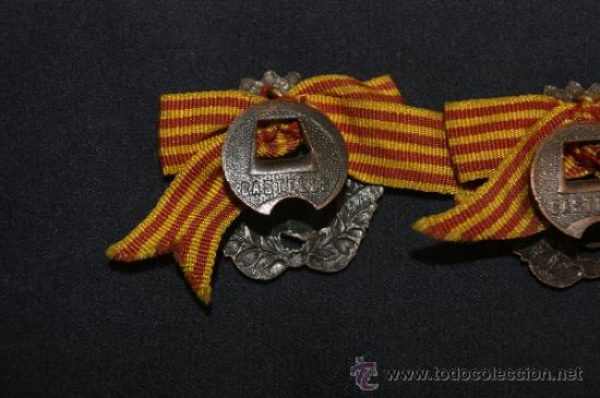 Militaria: Antigua pareja de insignia de somaten armado de Cataluña. Somatenes. Republica y guerra civil - Foto 5 - 34510645