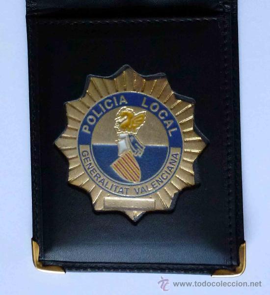 CARTERA DE PIEL CON PLACA DE POLICIA LOCAL COMUNIDAD VALENCIANA (Militar - Insignias Militares Españolas y Pins)
