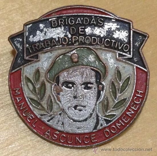 EJERCITO CUBANO. INSIGNIA DE LAS BRIGADAS DE TRABAJO PRODUCTIVO. MANUEL ASCUNCE DOMENECH. 23MM (Militar - Insignias Militares Internacionales y Pins)