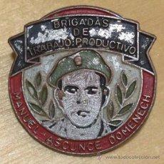 Militaria: EJERCITO CUBANO. INSIGNIA DE LAS BRIGADAS DE TRABAJO PRODUCTIVO. MANUEL ASCUNCE DOMENECH. 23MM. Lote 36098766