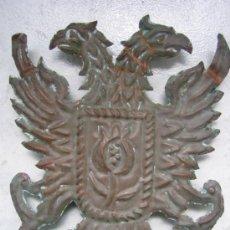 Militaria: ESCUDO DE AGUILAS BICEFALAS EN LAMINA DE COBRE 18´5X14 CM Y PLETINA 19´5X2´5 CM. Lote 36638863