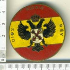 Militaria: ANTIGUA INSIGNIA MILITAR EJERCITO CARLISTA, REQUETES DIOS PATRIA REY. Lote 42923885
