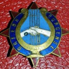 Militaria: INSIGNIA DE SOLAPA EPOCA DE REPUBLICA ORFEON RURCENSE. Lote 43120011