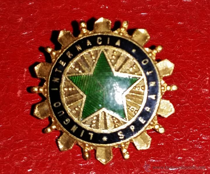 INSIGNIA DE SOLAPA EPOCA REPUBLICA LENGUA DEL ESPERANTO INTERNACIONAL (Militar - Insignias Militares Españolas y Pins)