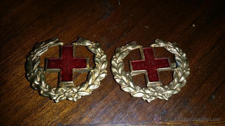 DISTINTIVOS DE CUELLO DE ALFONSO XIII- REPUBLICA,CRUZ ROJA (Militar - Insignias Militares Españolas y Pins)
