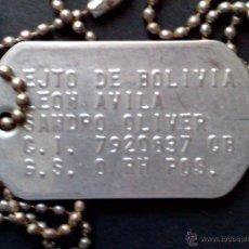 Militaria: CHAPA IDENTIFICACIÓN-EJERCITO DE BOLIVIA-LEON AVILA. Lote 50015777