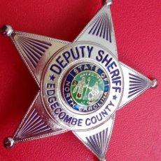 Militaria: INSIGNIA PLACA D POLICIA AMERICANA ESTRELLA DEPUTY SHERIFF DEL ESTADO NORTH CAROLINA CON CERTIFICADO. Lote 53177661
