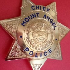 Militaria: INSIGNIA PLACA DE POLICIA AMERICANA TIPO SHERIFF ESTRELLA DEL ESTADO DE OREGON JEFE DE POLICIA. Lote 54383794