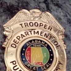 Militaria: INSIGNIA PLACA DE POLICIA AMERICANA TROOPER POLICIA MONTADO DEL ESTADO DE ALABAMA. Lote 54383947