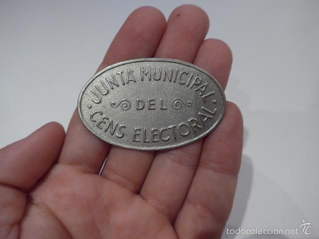 INSIGNIA DE PECHO REPUBLICANA DE JUNTA MUNICIPAL DEL CENS ELECTORAL, CATALUNYA. GUERRA CIVIL (Militar - Insignias Militares Españolas y Pins)