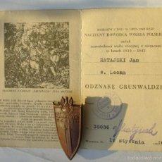 Militaria: ANTIGUA INSIGNIA PLACA GRUNWALD BERLIN 1410 1945 CON SU DOCUMENTO ORIGINAL. Lote 54460182