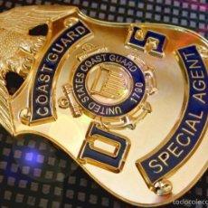 Militaria: INSIGNIA PLACA DE POLICIA AMERICANA AGENTE ESPECIAL GUARDA COSTAS 1790 BAÑO DE ORO 24KT. Lote 58079300
