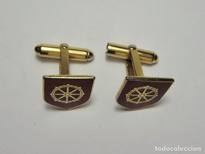 Militaria: Gemelos. Armada española. Insignia con Timón. Con esmaltes. - Foto 2 - 62620656
