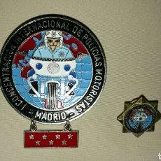 Militaria: PLACA Y PIN O INSIGNIA I CONCENTRACIÓN INTERNACIONAL DE POLICÍAS MOTORISTAS , LOS GATOS . MADRID. Lote 67975307