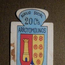 Militaria: ESCUDO - EMBLEMA - AUXILIO SOCIAL - DONATIVOS - MADRID - ARROLLOMOLINOS - 20 CTS - 1951. Lote 69892597