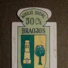 Militaria: ESCUDO - EMBLEMA - AUXILIO SOCIAL - DONATIVOS - MADRID - BRAOJOS - 50 CTS - 1951. Lote 69892669
