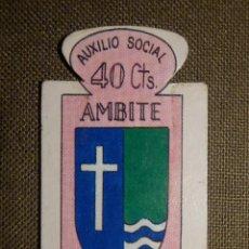 Militaria: ESCUDO - EMBLEMA - AUXILIO SOCIAL - DONATIVOS - MADRID - AMBITE - 40 CTS - 1951. Lote 69892673