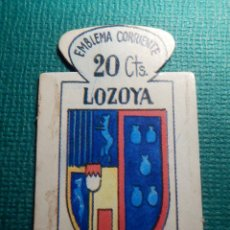 Militaria: ESCUDO - EMBLEMA - AUXILIO SOCIAL - DONATIVOS - MADRID - LOZOYA - 20 CTS - 1951. Lote 70889425