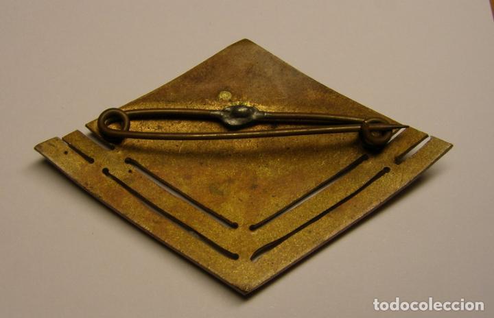Militaria: Antiguo y raro rombo de especialista en transmisiones, de oficial, con esmaltes al fuego. - Foto 2 - 77650457
