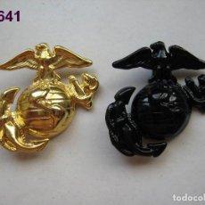 Militaria: U.S. - U.S.A. - E.E.U.U. : 2 INSIGNIAS DE GORRA DE MARINES (NEGRA BRILLO Y DORADA). ENVÍO GRATUITO.. Lote 92736790