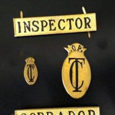Militaria: CONJUNTO INSIGNIAS CUERPO DE TRENES Y TRANVIAS - INSPECTOR, COBRADOR Y OPERARIOS. Lote 92901260
