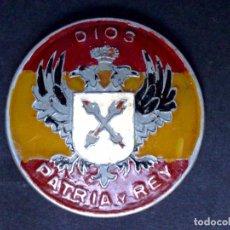 Militaria: INSIGNIA ANTIGUA CARLISTA-REQUETÉ TRADICIONALISTA-DIOS-PATRIA Y REY (4,5CMS. DIAMETRO). Lote 95657160